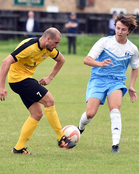Action from March Town's 3-0 defeat to Holland FC. PHOTO: Ian Carter