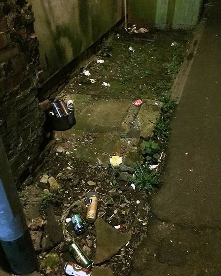 Police officers deal with street drinking in Wisbech