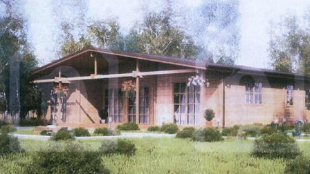 Illustration by Robert Negus to show planners what his proposed eco log cabins at Soham would look l