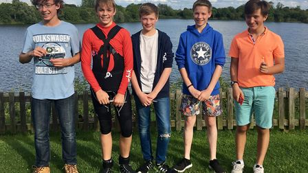 Kirk Stamford (first left) alongside the other competitors from Ely Sailing Club's Junior Trophy com