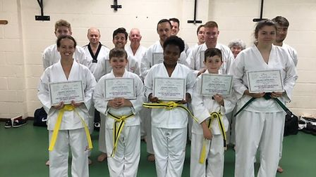 The Adult Beginners at the Ely Mark Farnham School of Tae Kwon-Do.