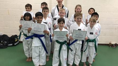 The Stage 1 Juniors at the Ely Mark Farnham School of Tae Kwon-Do.