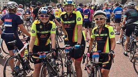 Ely & District Cycling Club members Alison Holmes, Laura Aldred and Chrissie King at the Prudential