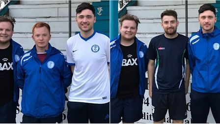 Chatteris Town's new signings, Dave Turnbull (second left) and Scott Taylor (second right).