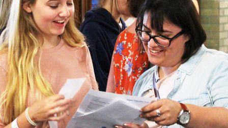 Soham Village College students celebrate their GCSE results.