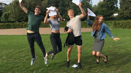 Left to right: Douglas Furlong, Erin Grocott, Cerys Tatton and Connor Bull; all celebrating GCSE res