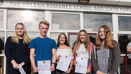 Pupils at Helena Romanes School in Dunmow, happy with their GCSE results