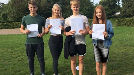 Douglas Furlong, Erin Grocott, Connor Bull and Cerys Tatton celebrate their outstanding GCSE results