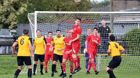 Action from March Town's 1-1 draw with Leiston Reserves. Photo: IAN CARTER
