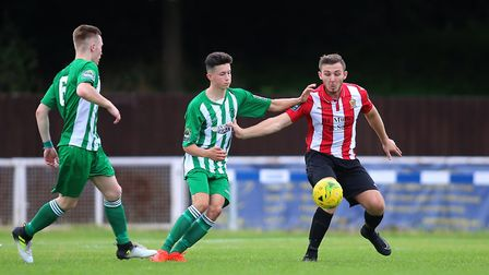 Matty Allan (centre) scored his first Soham goal in their 4-1 win over Norwich United last night. Ph