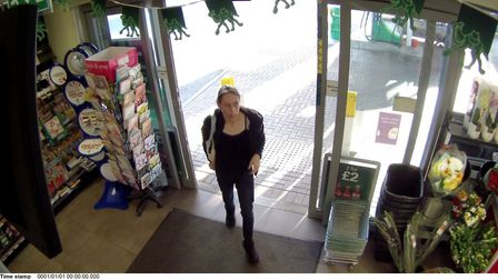 CCTV of a woman they would like to speak to in connection with two thefts from a BP garage in Wisbec