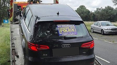 Police issue warning to insure vehicles after seizing uninsured Audi A3 on A10 near Ely