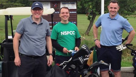The NSPCC's Christian Morris with Davor Ivinovic from Absolute Sense and James Brennan.