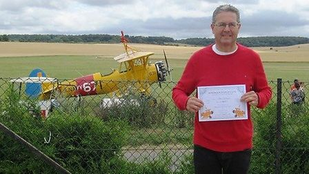 Alan Delaune from Burwell raised £2,100 for charity by wing walking.