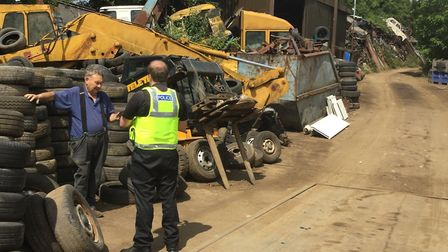 PC Sam Thompson on patrol at a scrap yard in Cambs. Picture: Cambridgeshire Constabulary