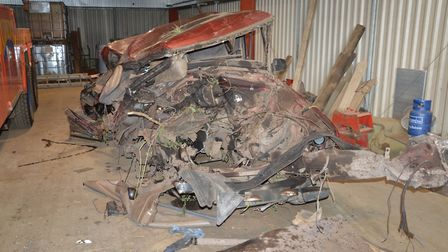 The remains of Dimitar Vaclinov's Land Rover after it was hit by a train travelling at 70mph on a le