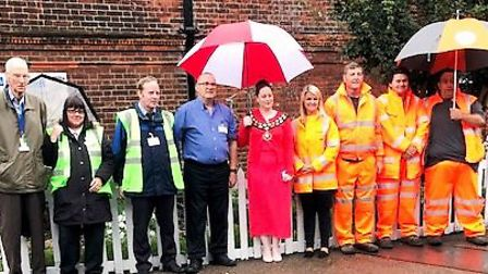 The memorial garden was officially opened by Mayor of March Councillor Kim French, centre.