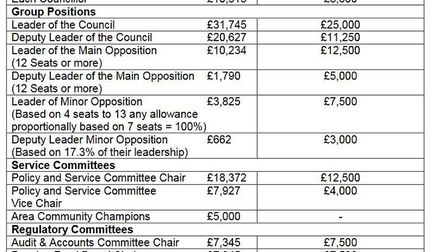 Chart shows the allowances now approved by Cambridgeshire County Council alongside the recommendatio
