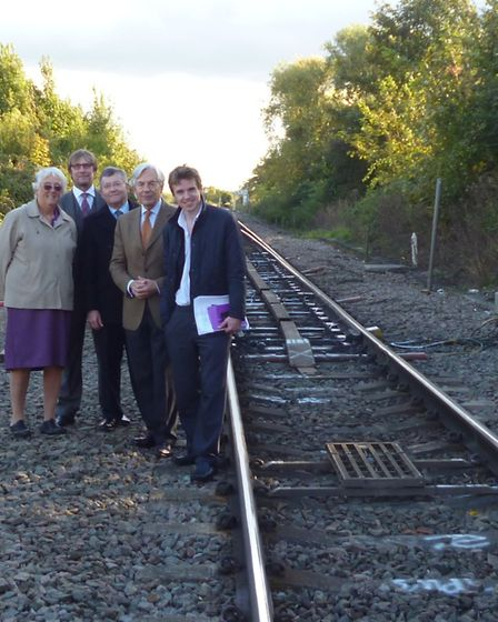 Soham Town Council's Rosemary Aitchison, James Palmer, council leader Peter Moakes, MEP Geoffrey Van