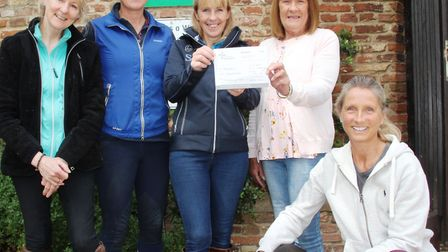 Gilly Banks, Alison Leonard, Jo Poole, Mary Dunn with Jane Tidy and Bella the dog Mike Gilly Banks,