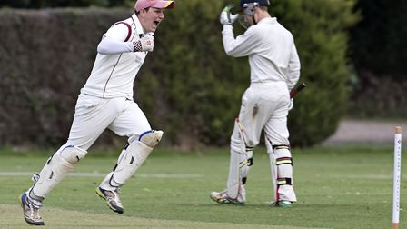 March Town's wicketkeeper, Lewish Welcher, celebrates. Photo: PAT RINGHAM