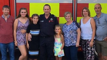 Crew commander Roger Nunn with his wife Caroline, their children Laura and Barry, son in law Kevin,