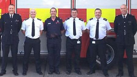 Group commander Gary Mitchley, station commander Karl Bowden, crew commander Roger Nunn, watch comma