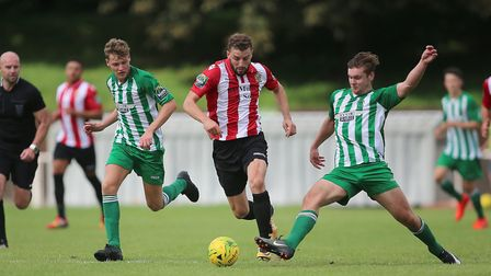 Action from Soham's 3-0 defeat to AFC Hornchurch. Photo: GEORGE PHILLIPOU
