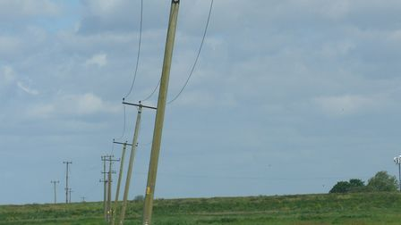 Being removed, the overhead lines at the nature reserve near March