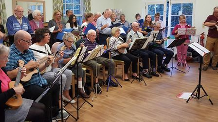 March Can't Sing Choir team up with March Ukulele Group to entertain residents at Jubilee Court