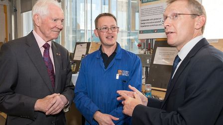 £2.5m for new professorship, Dr Taylor and Dr Minshall speaking to Kevin Bullman at the Department o