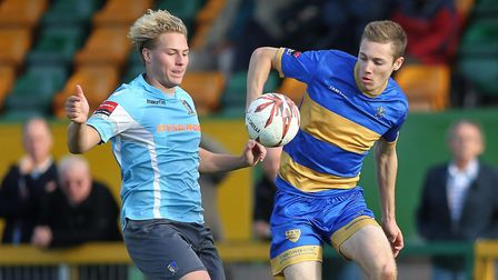 Will Green, in action for Romford last season, scored in Takeley's win at Burnham (pic George Phillp