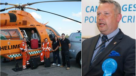 Police and Crime Commissioner Jason Ablewhite (right) has offered the Magpas Air Ambulance free stor