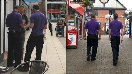 A man gets issued with a Fixed Penalty Notice in Wisbech for dropping litter (left), and enforcement