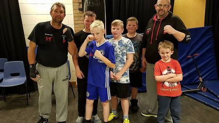 Coaches Paddy Paddock and Mark Johnson with some members of the East Anglia Kickboxing and Boxing Cl