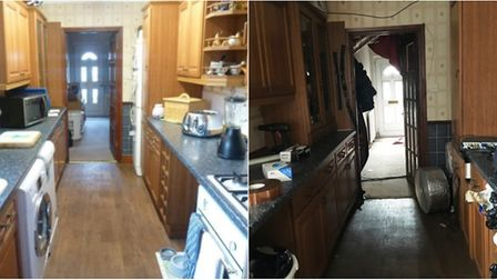 Before and after: What the kitchen of the house on Oakroyd Crescent looked like before it was turned