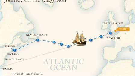 The Mayflower's route across the Atlantic. The trip took 66 days.