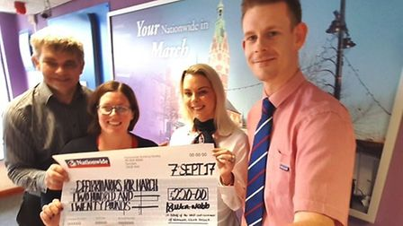 Natioinwide staff hand over a cheque for another defibrillator for March