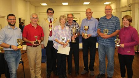 Top growers awarded at City of Ely Allotments Association's annual event pictured with Mayor of Ely,