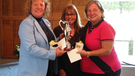 President Jacquie Richardson, lady captain Fiona Wood and Linda Harness.