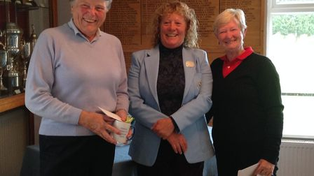Runners-up Hazel Suswain and Robin Singleton with president, Jacquie Richardson.