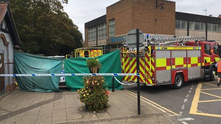 Police, ambulance and fire crews are currently at the scene on Broad Street and the path is taped of