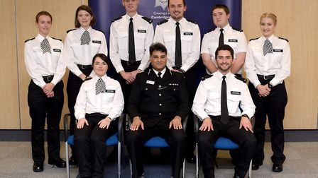 Passing out group of the first Police Now recruits for Cambridgeshire Police. , L to R, Eleanor Bacc