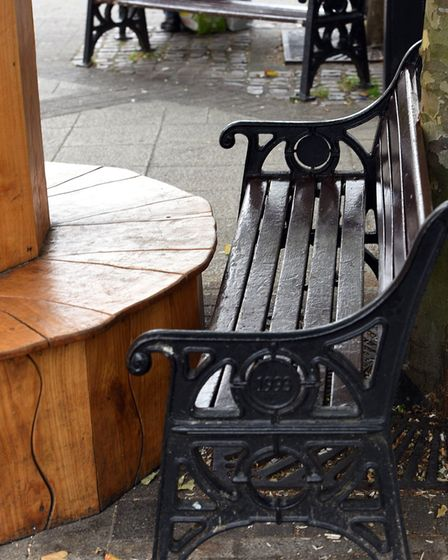 The bench pushed up to the reading tree in Wisbech