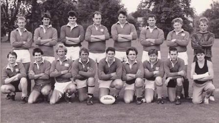 David 'Goof' Harvey, centre front, with the Old Sohamsos team.