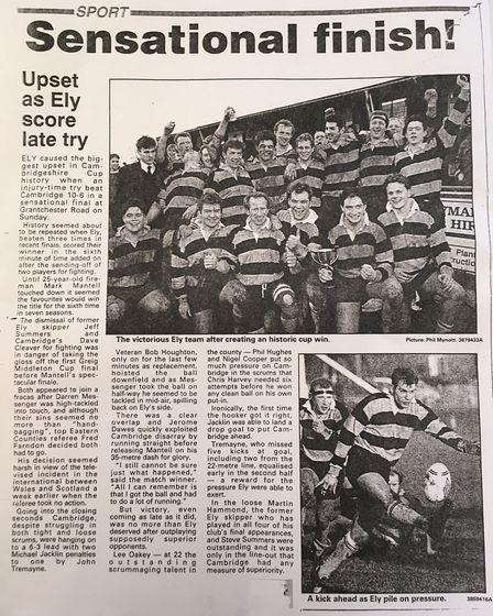 A copy of the Ely Standard's report of the game in 1994.
