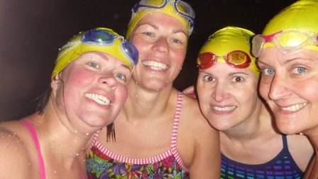 Abigail Brockwell (left) and the three other Channel swimmers in the four-woman relay