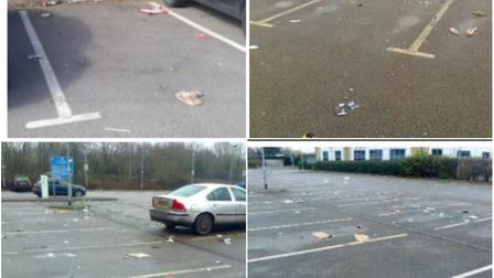 Severe littering and detritus after car cruising reports in Ely car parks. The evidence was collated
