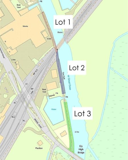 The three riverside plots up for sale for around £75,000 each.