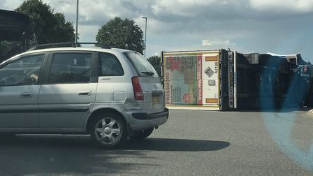 Overturned lorry on A141 at March PHOTO: RK'D Media